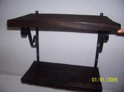 repisa de telefono doble estante madera y hierro 40x25 nueva