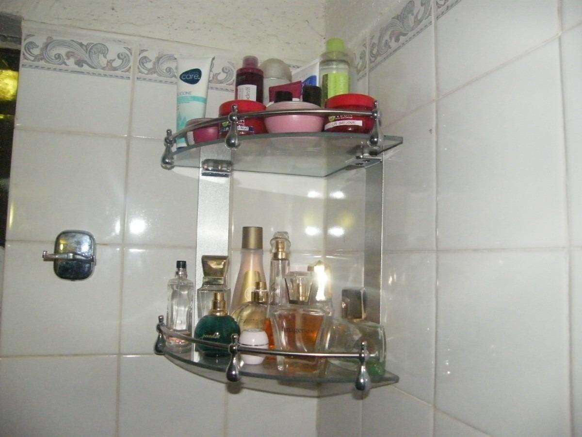 Repisa de vidrio doble esquinera para ba o 2 niveles for Esquineras para banos
