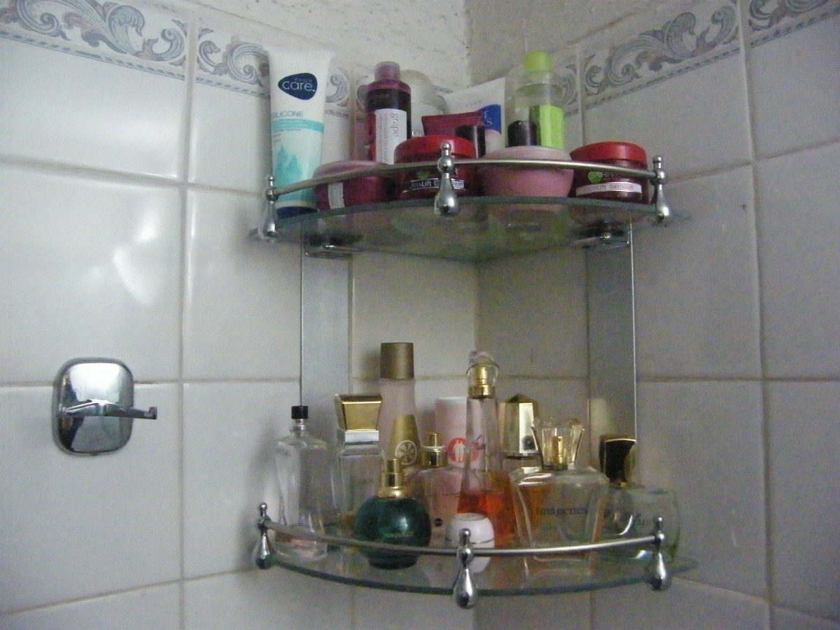 Repisa de vidrio doble esquinera para ba o 2 niveles for Espejo con repisa para bano