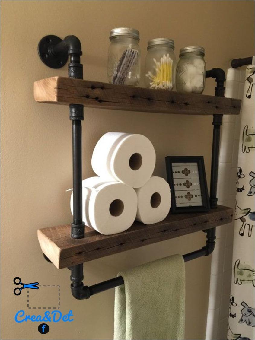 Repisa doble 19x60 con toallero industrial vintage for Repisas estilo industrial