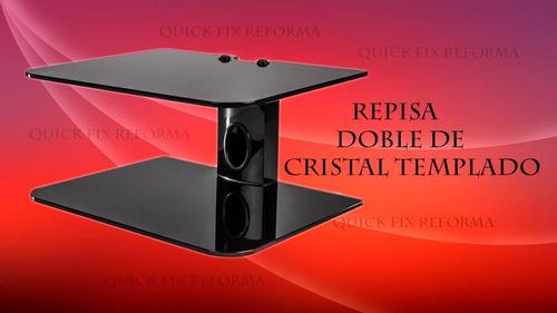 repisa doble de cristal templado