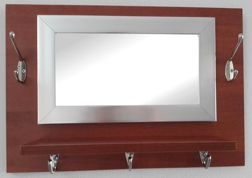 repisa en madera con 5 ganchos percheros y espejo baño,sala