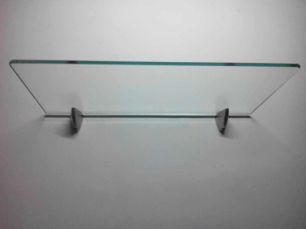 Repisa En Vidrio 20 X 50cm Con Soportes En Acero