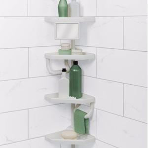repisa esquinera organizadora para baño con espejo
