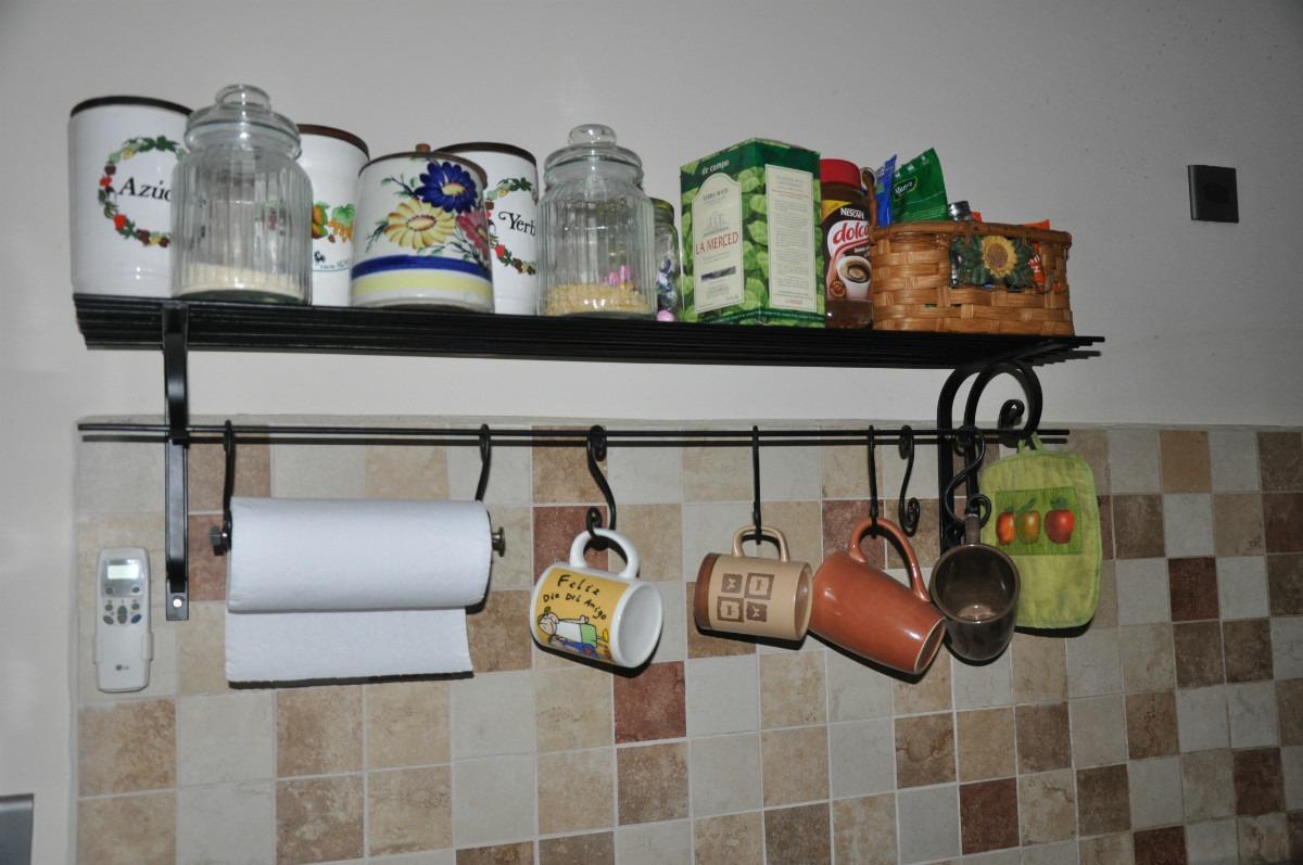 repisa estante estilo campo organizador ganchera para cocina