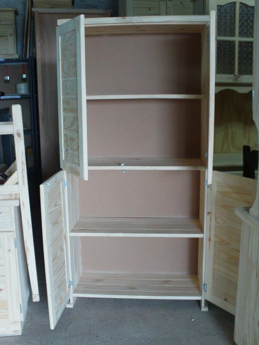 Repisa estanteria biblioteca 4 puertas de madera maciza for Puertas madera maciza