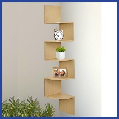 repisa flotante librero esquinero madera clara* envío gratis