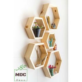 Repisa Hexagonal De Madera