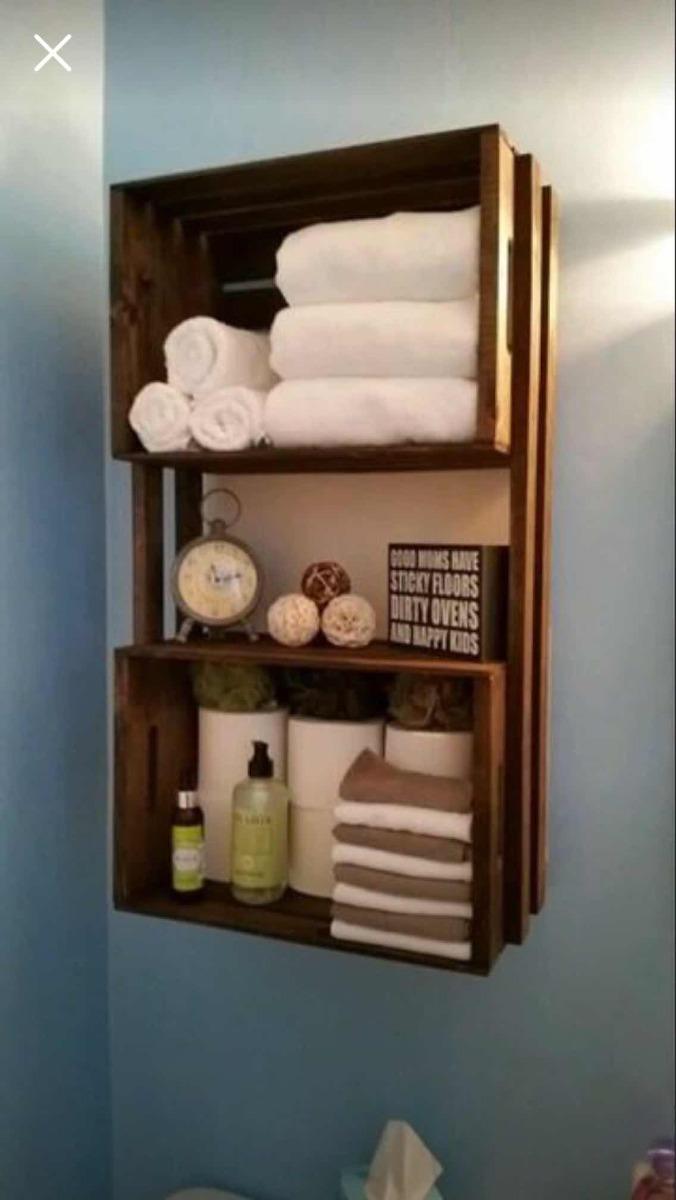 Repisa mueble ba o toallero madera tipo huacal reja for Muebles para cds madera