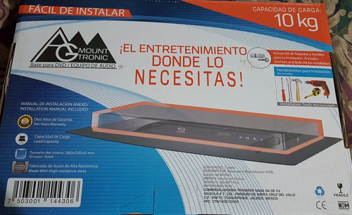 repisa para dvd bluray xbox play cristal templado 10kg base