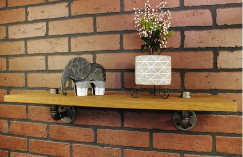 repisa pared vintage industrial retro madera pino tubo acero