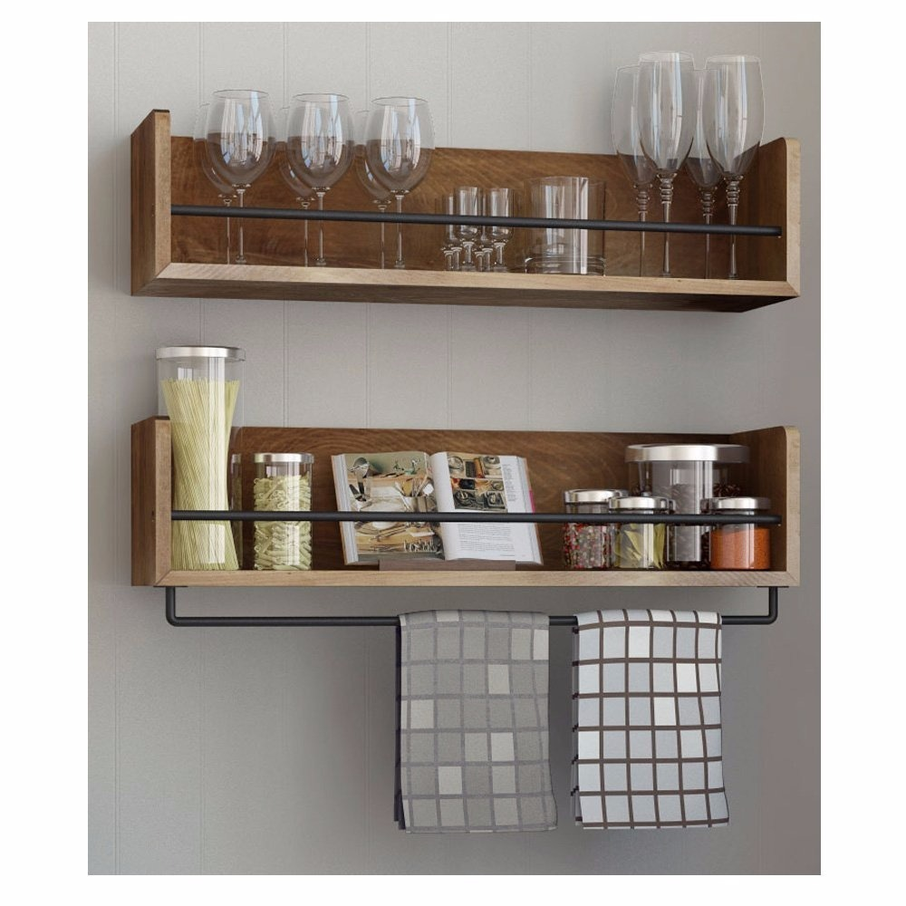Shelves For Kitchen Wall: Repisa Perchero Toallero Pared Madera Rustico Industrial