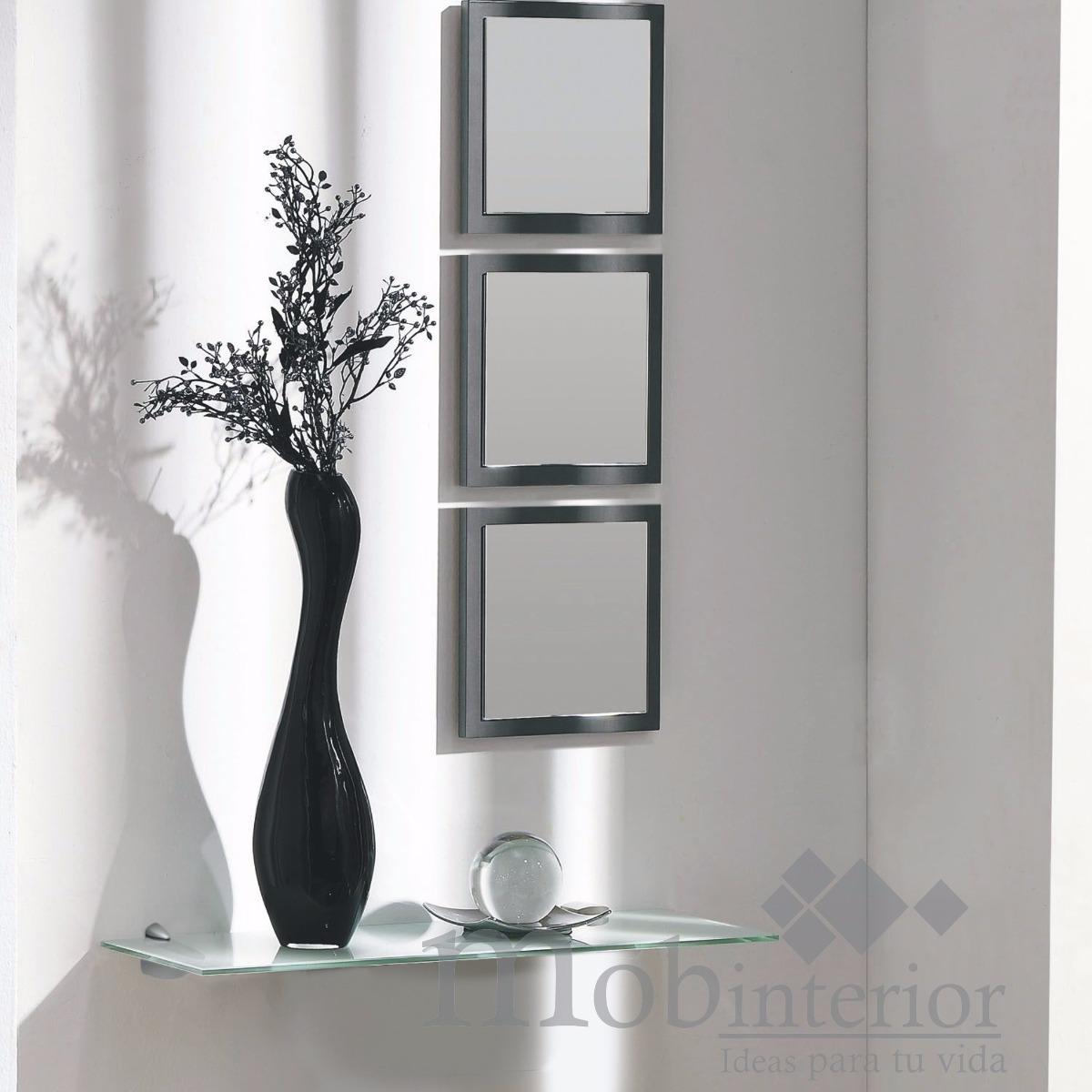 Repisa recibidor de cristal con 3 espejos mobinterior for Espejos para pared completa