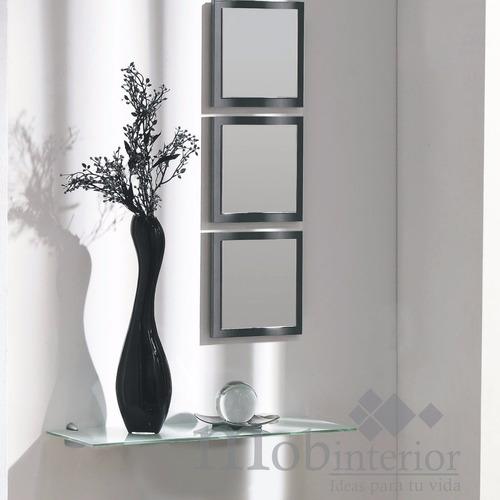 repisa recibidor de cristal con 3 espejos mobinterior