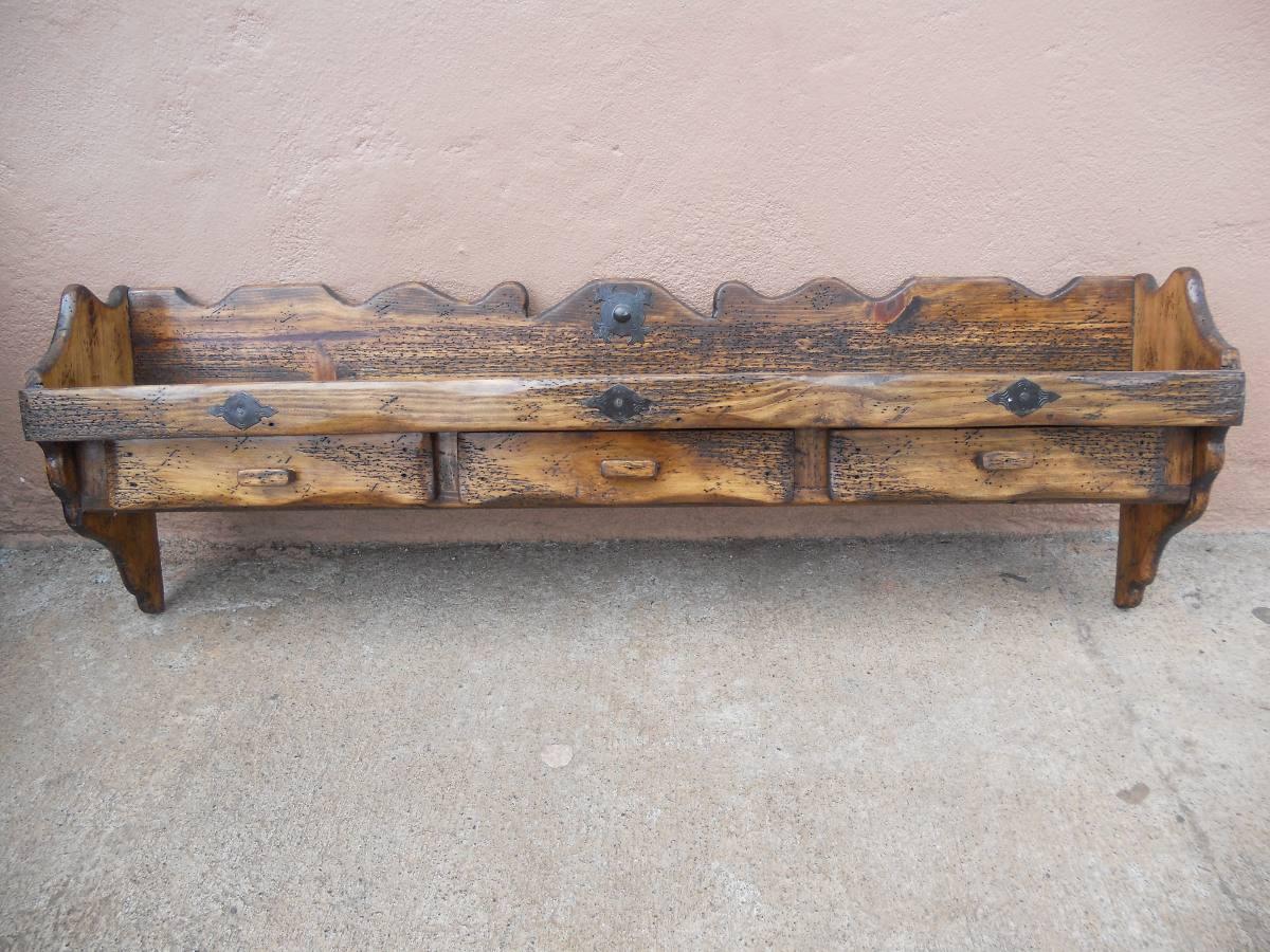 Repisa r stica con 3 cajones madera de pino apolillada for Repisas rusticas para cocina