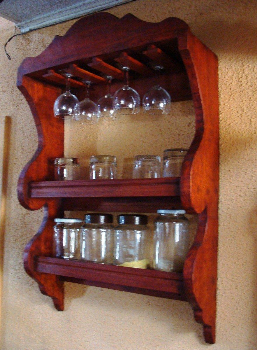Repisa vintage frascos copas vasos bar cocinas 55x85x20 for Bar de madera chile
