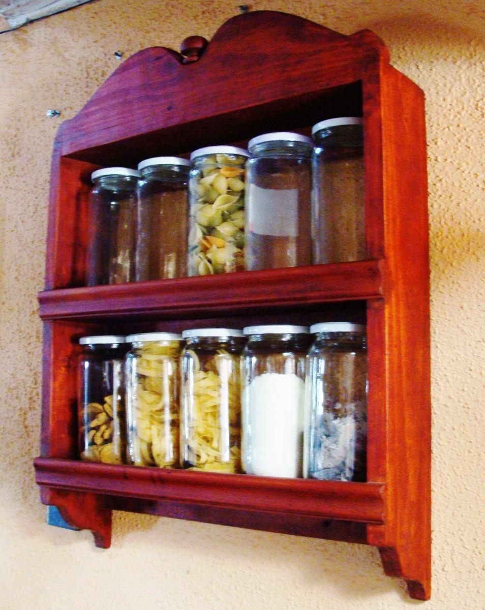 Repisa vintage para cocina para 10 frascos cms - Como hacer cocinita de madera ...