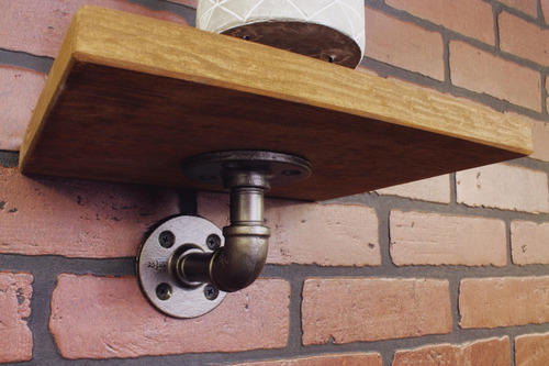 repisa vintage retro industrial madera pino tubo acero