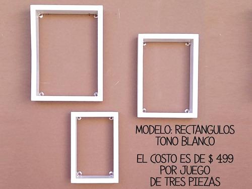 repisas de madera vintage set de 3 pz cuadrada rectangular