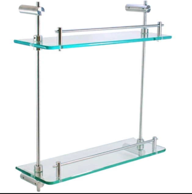 Repisas de vidrio y acero inoxidable en for Agarraderas para bano acero inoxidable