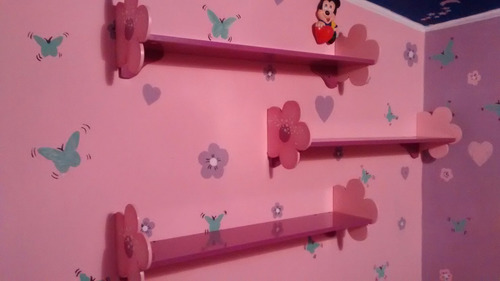 repisas infantiles para juguetes y peluches flores x3 unidad