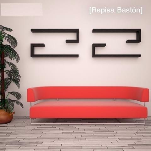 repisas minimalistas flotantes forma bastón (par)