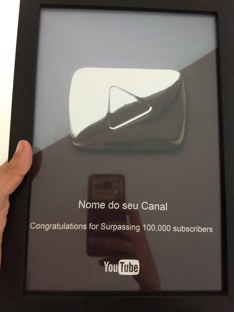 Réplica Da Placa Do Youtube Atenção Botão Impresso Só Foto