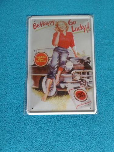 réplica de antigua publicidad lucky strike chapa 20 x 30 cm