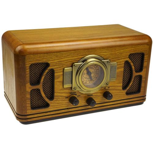 replica radio am/fm antigo vintage madeira modelo r-988