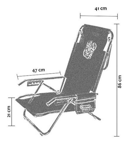 reposera 5 posiciones aluminio de 7/8  con bolsillo premium°