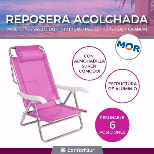 reposera 6 posc caño coversol reclinable  15171 env**10
