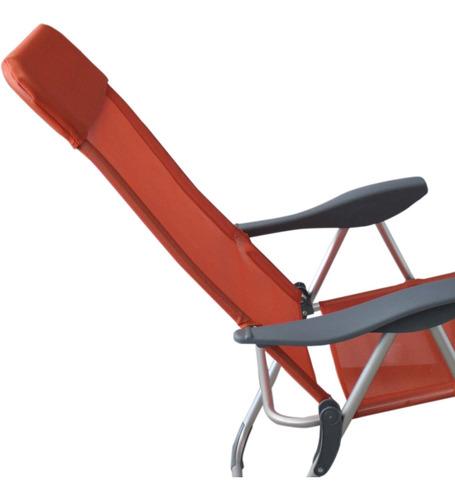 reposera aluminio 5 posiciones naranja