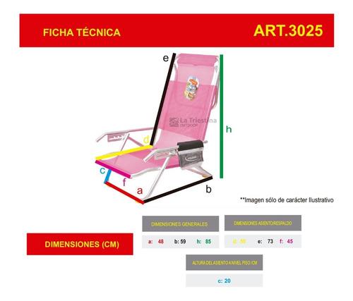 reposera aluminio solcito 5 posiciones tubo 7/8 modelo 3025