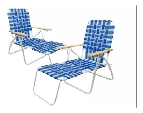 reposera combo x2 sillon con apoya pies caño 20004 descansar