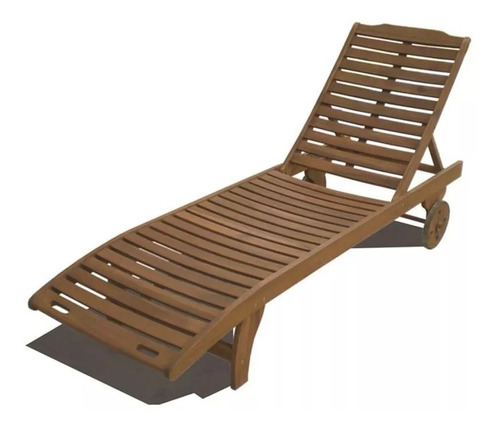 reposera de madera con ruedas. piscinas y jardín