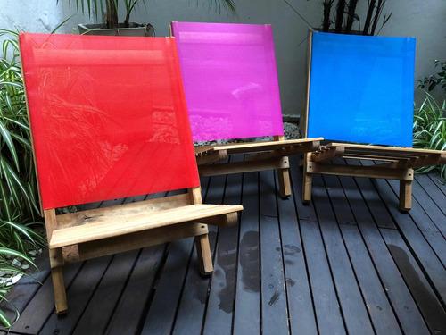 reposera de madera plegable silla playera tela coversol