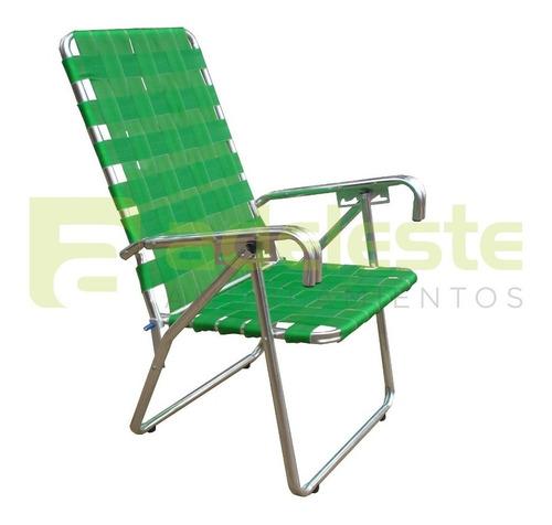 reposera silla alta de aluminio y cinchas. 5 pos. reforzada
