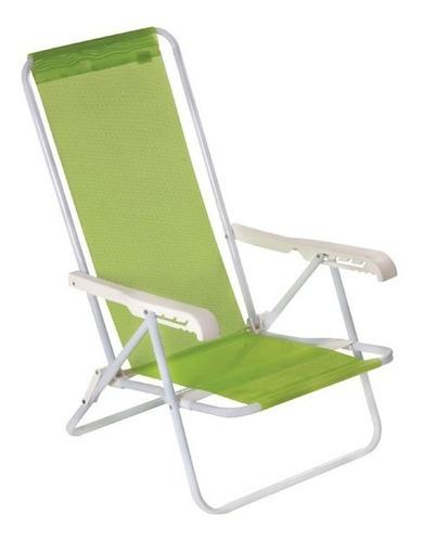 reposera silla plegable mor 4 posiciones verde resistente