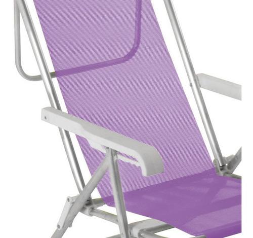 reposera sillon playa camping 8 pos. aluminio sannet mor