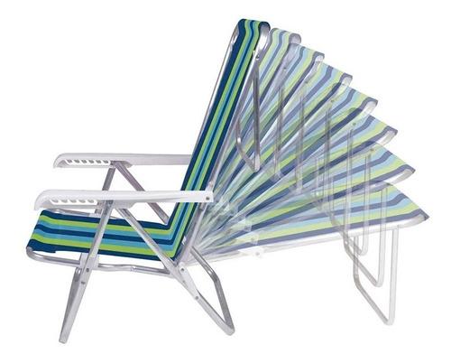 reposera sillon silla camping rafia 8 posiciones aluminio