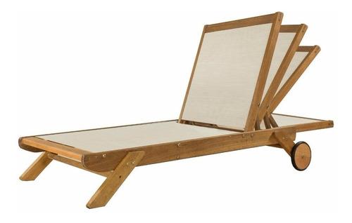 reposera tipo camastro con textileno de madera eucalipto para pileta - ecomadera - mocona con textileno +