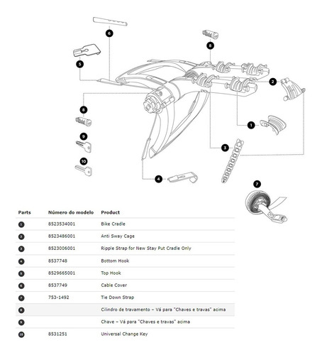 reposição thule raceway pro 2 9001 - 8529665001 (1 peça)