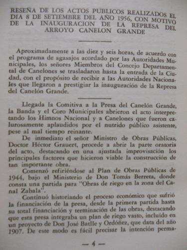 represa arroyo canelon grande consejo depart. canelones 1956