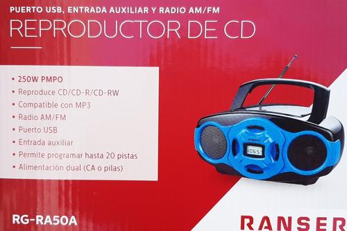 reproductor de cd ranser mp3 am fm usb rg-ra50a dual pila/el
