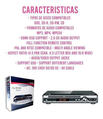 reproductor dvd player alien 3231 + control ct mmk pch