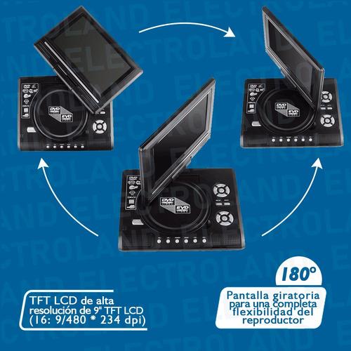 reproductor dvd portatil 9,8 tv fm juegos 12v 220v usb c/rem