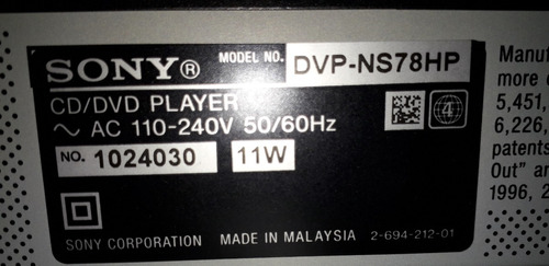 reproductor dvd sony ns78hp cd/dvd player