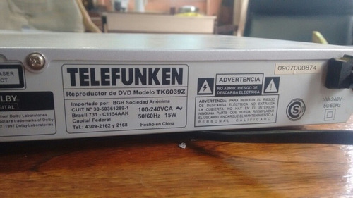 reproductor dvd telefunken tk 6039z