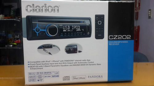 reproductor mp3  aux ucb radio cd clarion cz202 ipod iphone