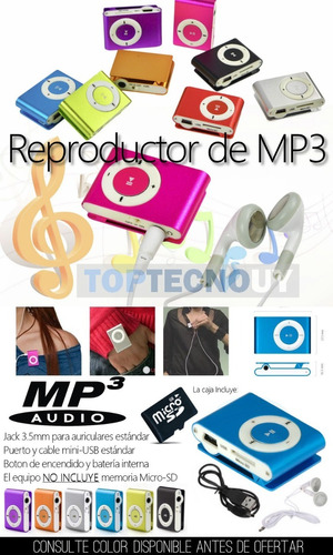reproductor mp3 c/ auriculares y cable slot micro-sd alumino